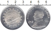 Изображение Монеты Мальта 2 фунта 1975 Серебро Proof- Альфонс Мариа Галеа.