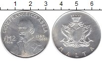 Изображение Монеты Мальта 2 фунта 1974 Серебро UNC- Джованни Франческо А