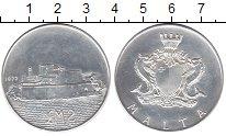 Изображение Монеты Мальта 2 фунта 1972 Серебро UNC- Форт.
