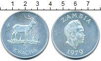 Изображение Монеты Замбия 5 квач 1979 Серебро UNC Сохранение  животног