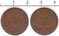 Изображение Мелочь Уганда 5 центов 1974 Медь XF