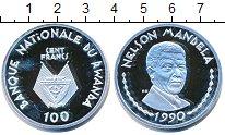 Изображение Монеты Руанда 100 франков 1990 Серебро Proof- Нельсон Мандела