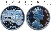 Изображение Монеты Гибралтар 21 экю 1993 Серебро Proof- Евротонель