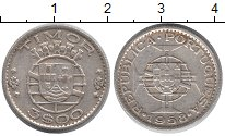 Изображение Монеты Тимор 3 эскудо 1958 Серебро XF Португальская колони