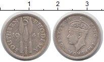Изображение Монеты Родезия 3 пенса 1941 Серебро XF Георг VI.