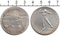Изображение Монеты Финляндия 100 марок 1989 Серебро UNC- Лыжник