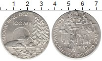 Изображение Монеты Финляндия 100 марок 1990 Серебро UNC- Ветераны