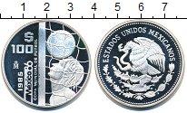 Изображение Монеты Мексика 100 песо 1985 Серебро Proof Чемпионат  мира  по