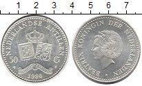 Изображение Монеты Антильские острова 50 гульденов 1980 Серебро UNC-