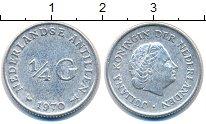 Изображение Монеты Антильские острова 1/4 гульдена 1970 Серебро XF Королева  Юлиана.