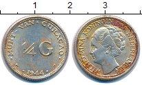 Изображение Монеты Кюрасао 1/4 гульдена 1944 Серебро XF Колония Нидерландов