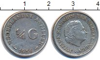 Изображение Монеты Антильские острова 1/4 гульдена 1956 Серебро XF