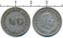 Изображение Монеты Антильские острова 1/4 гульдена 1954 Серебро XF