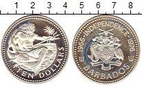 Изображение Монеты Барбадос 10 долларов 1976 Серебро Proof 10 - летие  независи
