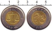 Изображение Монеты Эфиопия 1 бирр 2010 Биметалл UNC- Весы.  Лев.
