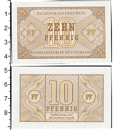 Изображение Банкноты Германия ФРГ 10 пфеннигов 1949  XF