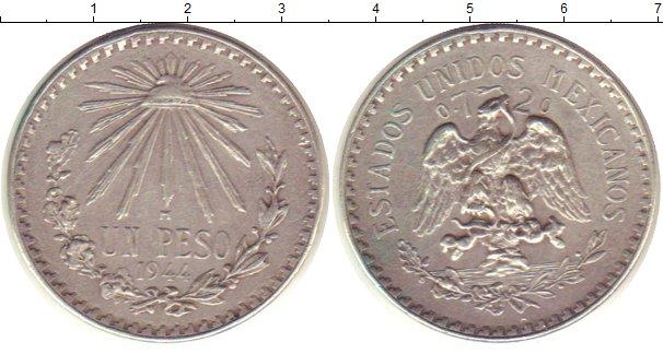 Картинка Монеты Мексика 1 песо Серебро 1944