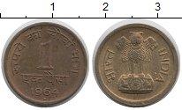 Изображение Монеты Индия 1 рупия 1964 Медь VF Герб