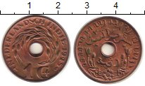Изображение Монеты Нидерландская Индия 1 цент 1945 Медь XF цветы лотоса