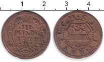 Изображение Монеты Росток 3 пфеннига 1744 Медь XF R