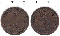 Изображение Монеты Германия Гессен 3 хеллера 1860 Медь XF
