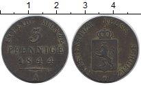 Изображение Монеты Рейсс-Шляйц 3 пфеннига 1844 Медь XF