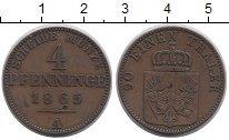 Изображение Монеты Германия Пруссия 4 пфеннига 1865 Медь XF