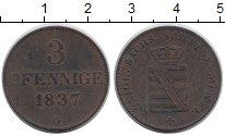 Изображение Монеты Саксония 3 пфеннига 1837 Медь XF