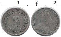 Изображение Монеты Стрейтс-Сеттльмент 5 центов 1910 Серебро VF