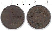 Изображение Монеты Бавария 1/2 крейцера 1852 Медь VF