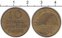 Изображение Монеты Данциг 10 пфеннигов 1932 Латунь XF Рыба.