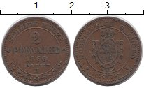 Изображение Монеты Германия Саксония 2 пфеннига 1866 Медь XF