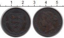 Изображение Монеты Остров Джерси 1/24 шиллинга 1877 Медь XF Королева  Виктория.