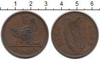 Изображение Монеты Ирландия 1 пенни 1948 Медь VF Глухарь