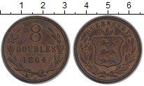 Изображение Монеты Гернси 8 дублей 1864 Медь VF Герб
