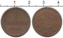 Изображение Монеты Бавария 1/2 крейцера 1851 Медь VF Герб