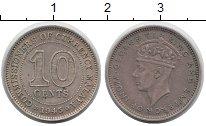 Изображение Монеты Малайя 10 центов 1945 Серебро XF