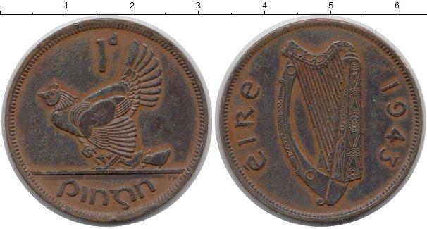 Картинка Монеты Ирландия 1 пенни Медь 1943