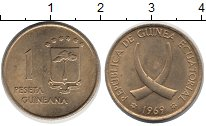 Изображение Монеты Экваториальная Гвинея 1 песета 1969 Латунь XF Бивни  слона.