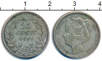 Изображение Монеты Нидерланды 25 центов 1901 Серебро XF