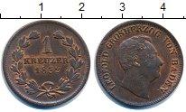 Изображение Монеты Германия Баден 1 крейцер 1852 Медь XF+
