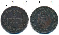 Изображение Монеты Баден 1/2 крейцера 1817 Медь XF