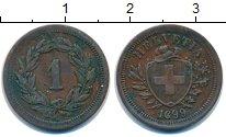 Изображение Монеты Швейцария 1 рапп 1899 Бронза XF В