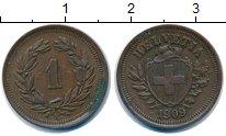 Изображение Монеты Швейцария 1 рапп 1909 Бронза XF