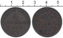 Изображение Монеты Германия Пруссия 4 пфеннига 1850 Медь VF