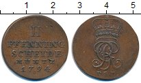 Изображение Монеты Брауншвайг-Люнебург-Каленберг-Ганновер 2 пфеннига 1794 Медь XF Георг III