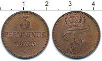 Изображение Монеты Мекленбург-Шверин 3 пфеннига 1853 Медь UNC-