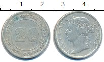 Изображение Монеты Стрейтс-Сеттльмент 20 центов 1899 Серебро VF