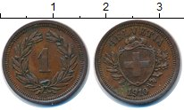 Изображение Монеты Швейцария 1 рапп 1910 Медь XF