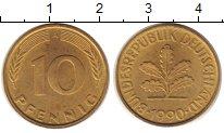 Изображение Монеты ФРГ 10 пфеннигов 1990 Латунь XF
